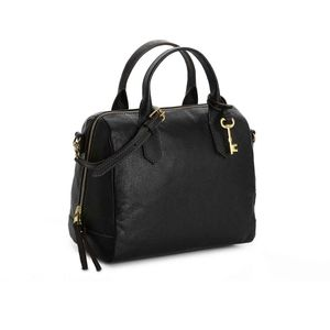 NWOT Fossil black leather satchel Fiona